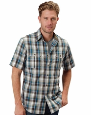 Roper Men's Short Sleeve Plaid Button Down Shirt - Blue (Closeout)