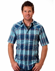 Roper Men's Short Sleeve Plaid Western Snap Shirt - Blue