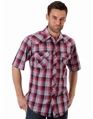 Roper Men's Short Sleeve Plaid Western Snap Shirt - Red (Closeout)