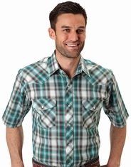 Roper Men's Short Sleeve Plaid Western Snap Shirt - Turquoise