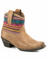 Roper Women's Aztec Shaft Shorty Snip Toe Boots - Tan Suede