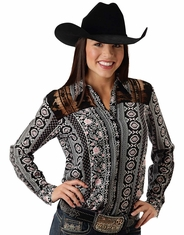 Roper Women's Long Sleeve Lace Yoke Print Button Down Shirt - Black (Closeout)