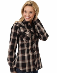 Roper Women's Long Sleeve Lurex Plaid Snap Shirt - Black (Closeout)
