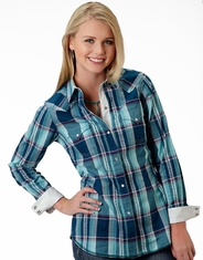 Roper Women's Long Sleeve Plaid Western Snap Shirt - Blue (Closeout)