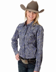 Roper Women's Long Sleeve Print Western Snap Shirt - Purple
