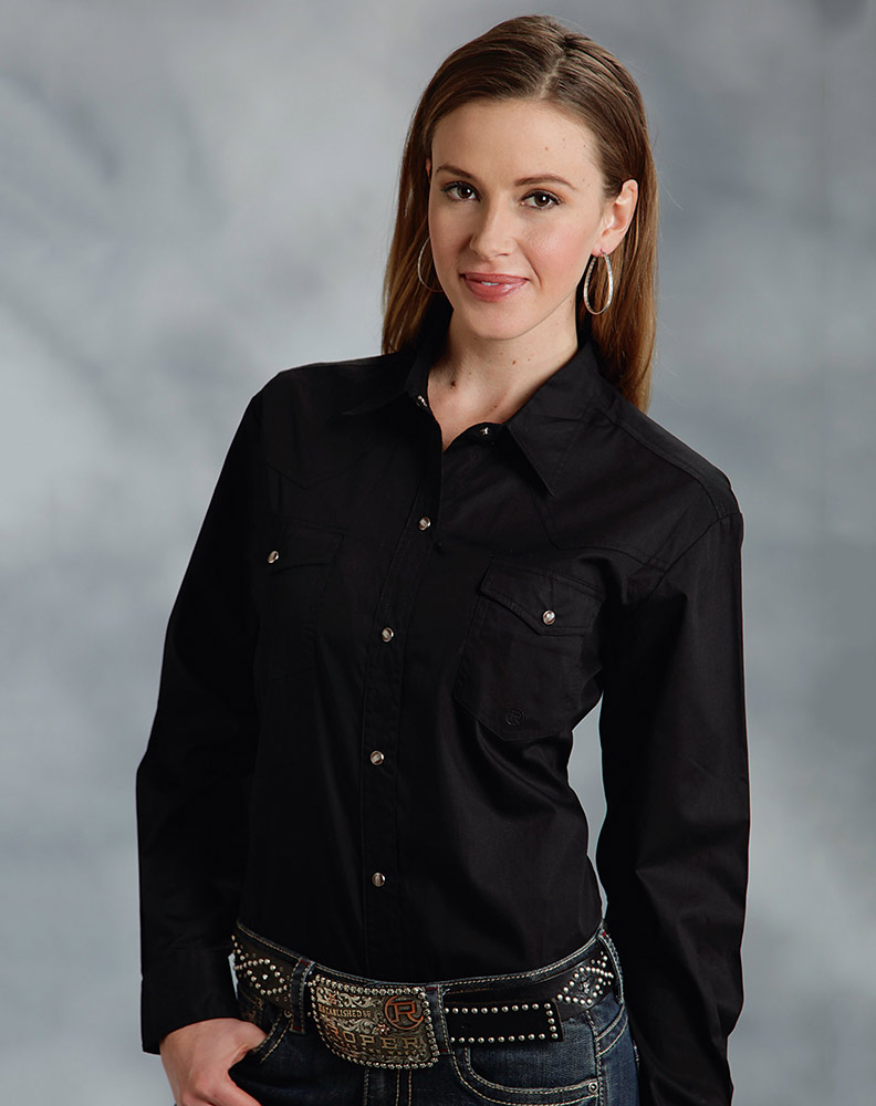 Women's Long Sleeve Solid Western Snap Shirt - Black