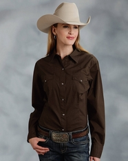 Roper Women's Long Sleeve Solid Western Snap Shirt - Brown