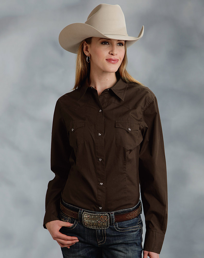Roper women 39 s long sleeve solid western snap shirt brown for Womans long sleeve shirts