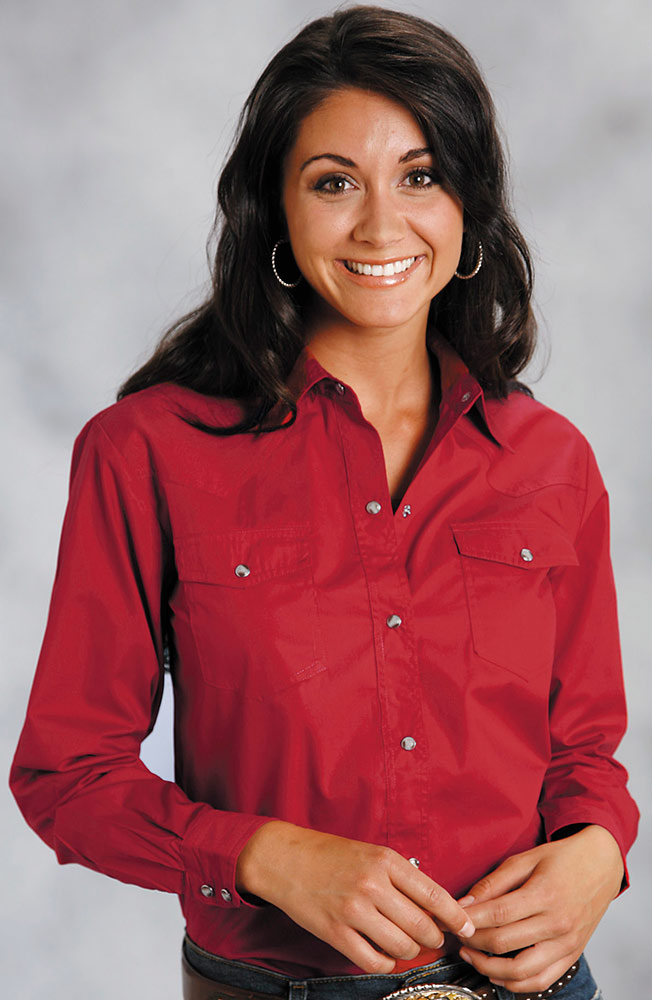 Women's Long Sleeve Solid Western Snap Shirt - Red
