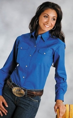 Roper Women's Western Long Sleeve Solid Snap Shirt - Blue