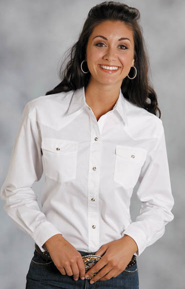 Roper Women's Long Sleeve Solid Western Snap Shirt - White