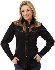 Roper Women's Long Sleeve Two Tone Vintage Snap Shirt - Black (Closeout)