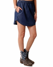 Roper Women's Short Denim Skirt - Blue