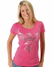 Roper Women's Short Sleeve Eagle Print Tee Shirt - Pink (Closeout)