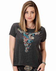 Roper Women's Short Sleeve Printed Tee Shirt - Grey (Closeout)
