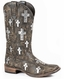 Roper Women's Silver Underlay Cross Square Toe Boots - Brown Sanded