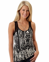 Roper Women's Sleeveless Lace Ikat Shirt - Black