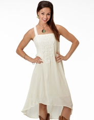 Roper Women's Sleeveless Lace Tie Back Dress - Cream