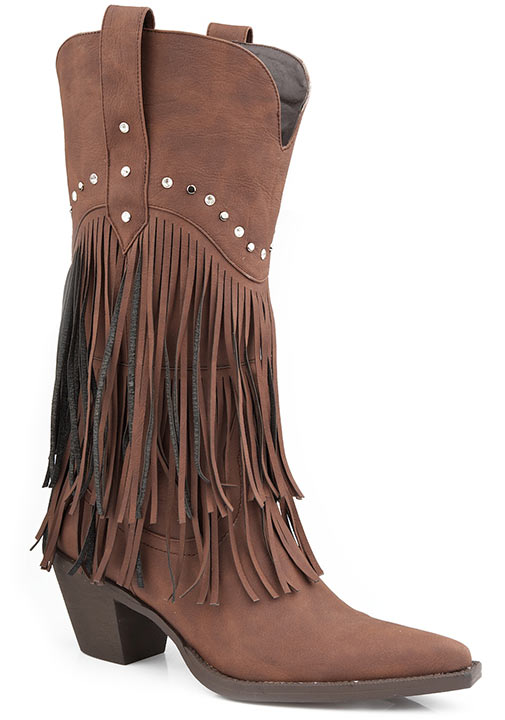 Roper Womens Faux Leather Fringe Western Cowboy Boots - Brown