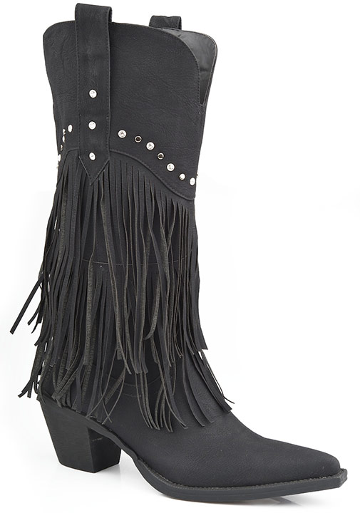 Roper Womens Faux Leather Fringe Cowboy Boots w/Studs - Black
