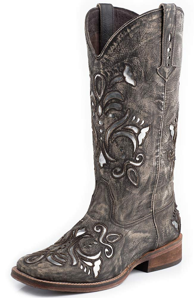 Womens Silver Underlay Square Toe Cowboy Boots - Brown Sanded