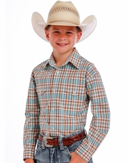 Rough Stock Boy's Long Sleeve Plaid Snap Shirt - Brown (Closeout)