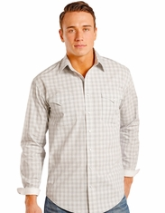 Rough Stock Men's Long Sleeve Check Snap Shirt - Grey