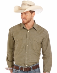 Rough Stock Men's Long Sleeve Dobby Snap Shirt - Green (Closeout)