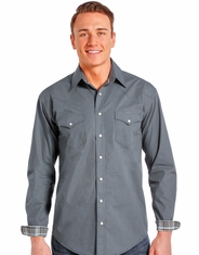 Rough Stock Men's Long Sleeve Houndstooth Solid Snap Shirt- Grey