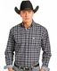 Rough Stock Men's Long Sleeve Plaid Button Down Shirt- Blue (Closeout)
