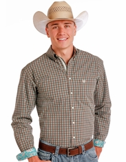 Rough Stock Men's Long Sleeve Plaid Button Down Shirt- Brown