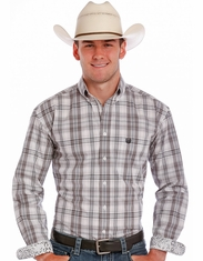 Rough Stock Men's Long Sleeve Plaid Button Down Shirt - Grey