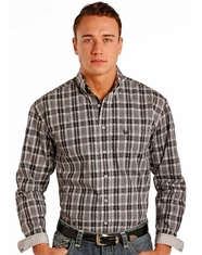 Rough Stock Men's Long Sleeve Plaid Button Down Shirt- Grey (Closeout)
