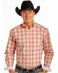 Rough Stock Men's Long Sleeve Plaid Button Down Shirt- Orange (Closeout)