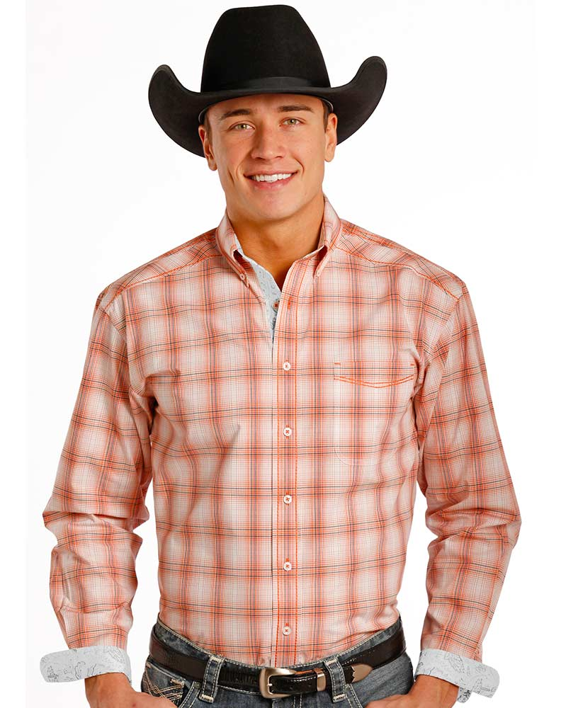 Rough Stock Men's Long Sleeve Plaid Button Down Shirt- Orange
