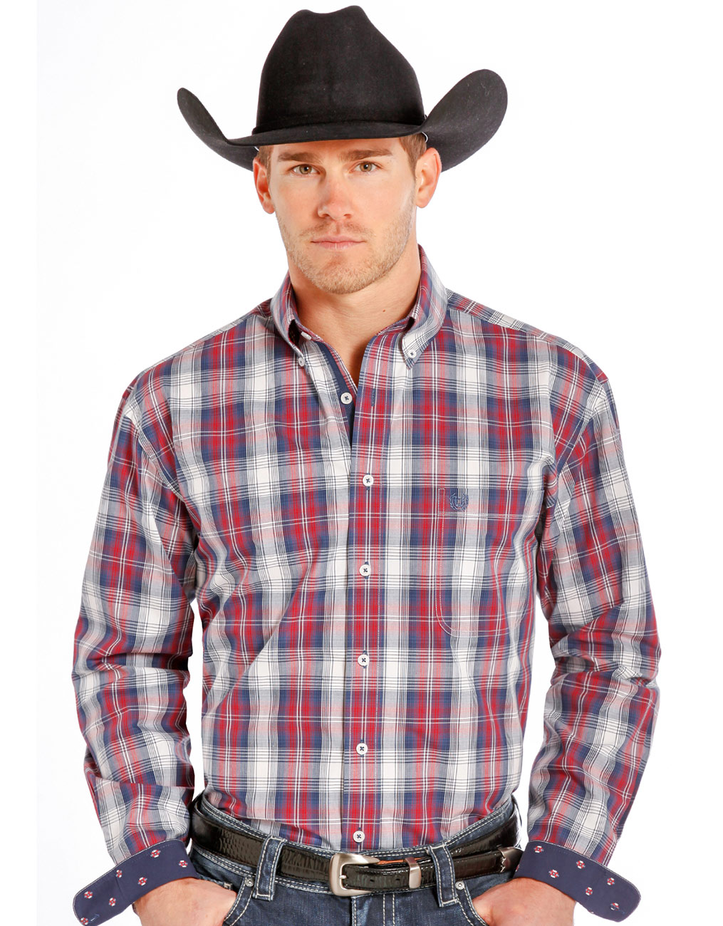 Rough Stock Men's Long Sleeve Plaid Button Down Shirt- Red