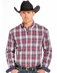 Rough Stock Men's Long Sleeve Plaid Button Down Shirt- Red (Closeout)