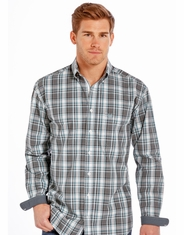 Rough Stock Men's Long Sleeve Plaid Button Down Shirt- Turquoise