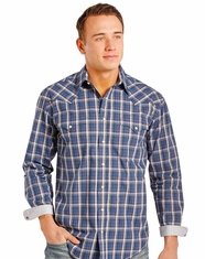 Rough Stock Men's Long Sleeve Plaid Snap Shirt- Purple (Closeout)
