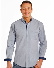 Rough Stock Men's Long Sleeve Print Button Down Shirt- Blue (Closeout)