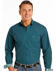 Rough Stock Men's Long Sleeve Print Button Down Shirt- Green (Closeout)