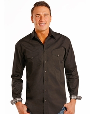 Rough Stock Men's Long Sleeve Print Snap Shirt- Black (Closeout)