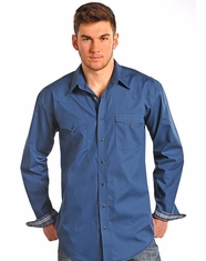Rough Stock Men's Long Sleeve Print Snap Shirt-Blue (Closeout)