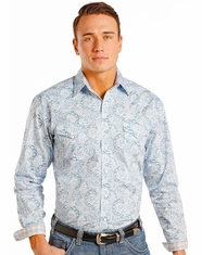 Rough Stock Men's Long Sleeve Print Snap Shirt- Blue (Closeout)