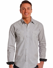 Rough Stock Men's Long Sleeve Print Snap Shirt- Grey (Closeout)