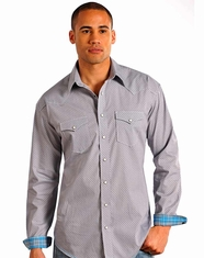 Rough Stock Men's Long Sleeve Print Snap Shirt-Grey (Closeout)