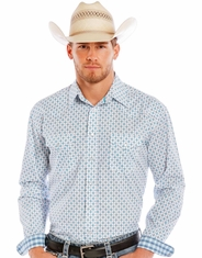 Rough Stock Men's Long Sleeve Print Snap Shirt - White