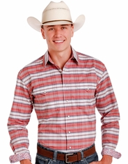 Rough Stock Men's Long Sleeve Striped Snap Shirt- Red (Closeout)