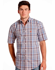 Rough Stock Men's Short Sleeve Plaid Button Down Shirt - Blue (Closeout)