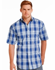 Rough Stock Men's Short Sleeve Plaid Button Down Shirt - Blue